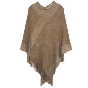 New Women's Poncho w/ Fringe in Camel & Silver